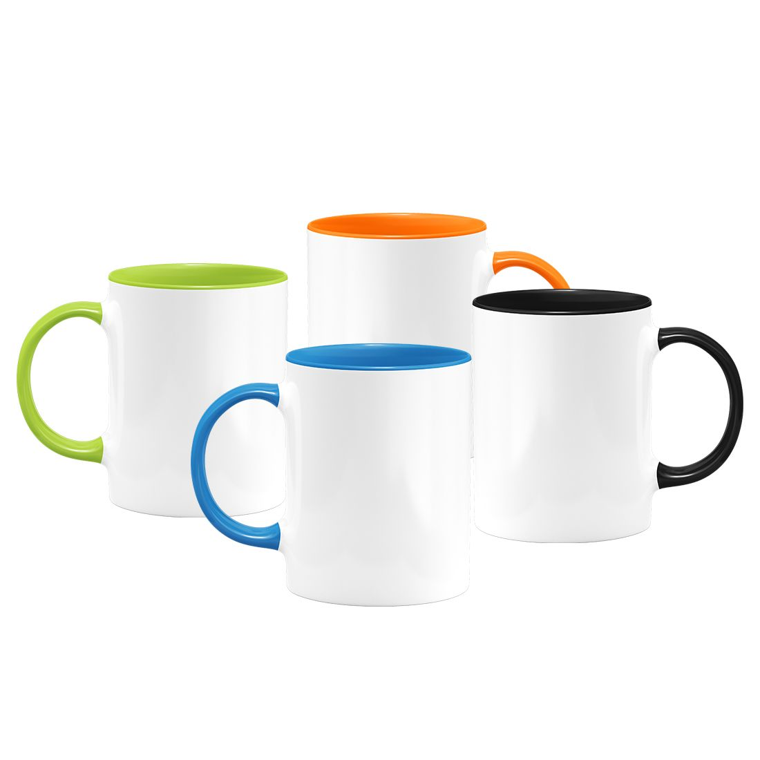 White Ceramic Sublimation Coffee Mug With Colored Inside Handle
